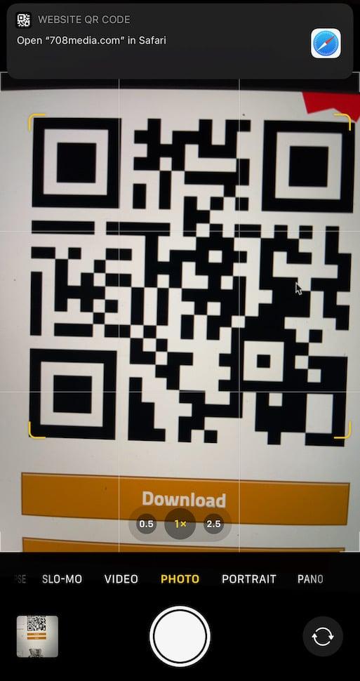 iPhone Camera App Scanning a QR Code